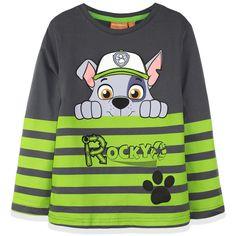 Paw Patrol Nickelodeon Boys Long Sleeve Top T-Shirt 100% Cotton 2-6 Years - Green Rocky
