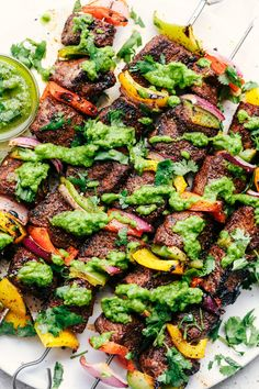 Grilled Steak Fajita Skewers with Avocado Chimichurri | The Recipe Critic