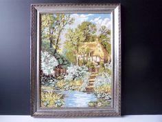 French tapestry landscape art. Vintage framed tapestry canvas wall hanging art. Landscape picture, river, wooded scene, house landscape