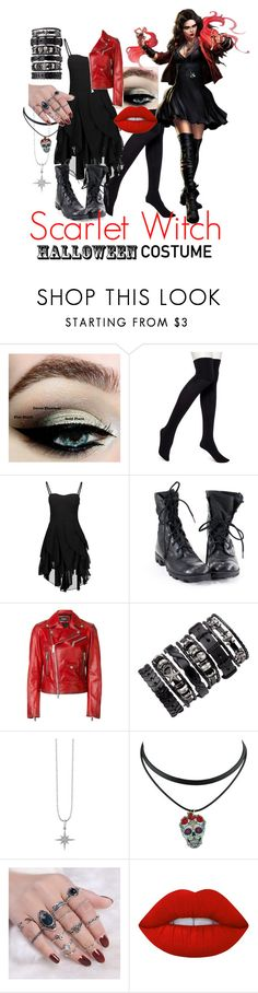 """Scarlet Witch"" by devithomas ❤ liked on Polyvore featuring HUE, Dsquared2, Sydney Evan and Lime Crime"