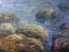 Sea stones oil on canvas Seascape Art, Oil On Canvas, Stones, Painting, Rocks, Painting Art, Paintings, Painted Canvas, Drawings