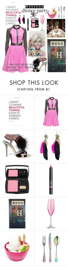 """""""My Saturday Dinner Party in Fall"""" by jaymagic ❤ liked on Polyvore featuring Lattori, Sophia Webster, Decree, Lancôme, NARS Cosmetics, LSA International, ZAK, CB2 and luxexo"""