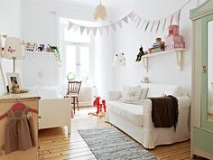 White with splashes of red and mint
