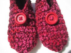 Crochet Slippers in Red Pink and Maroon by crochetedbycharlene, $21.00