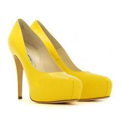 Brian Atwood Maniac Pumps #yellow #shoes #fashion