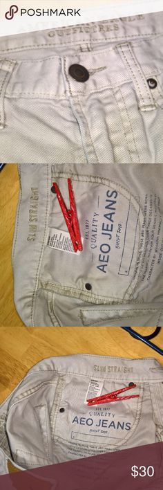 American Eagle Outfitters Khaki Jeans Excellent used condition. No rips, tears, stains, etc. that I noticed. Zoom in to check pics before purchasing. Item sold as-is--no refunds, returns, exchanges, lawsuits, riots, marches, rallies, etc. Seriously, I described this item to the best of my ability but please check pics and ask questions! TY Yaya American Eagle Outfitters Jeans Slim Straight