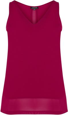 Womens raspberry chiffon detail vest from Warehouse - £19 at ClothingByColour.com