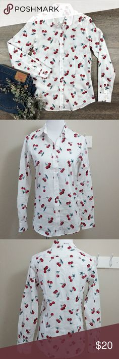 Cherry print 100% cotton button up shirt Adorable cherry print on 100% cotton white button up long sleeve shirt. A little on the sheer side, fabric is lightweight. Because this is a product from an Asian retailer, it runs very small, the mannequin is a 2/4 and it fits her really well. Pet and smoke free home. Tops Button Down Shirts