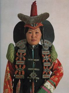 Mongolian Traditional Costume of married women of Khalka mongols