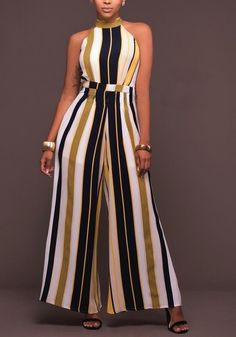 Buy Chicloth Women Striped Wide Leg Jumpsuit Halter Neck Sleeveless High Waist Romper Bodysuit,Cheap Womens Casual Pants,Cheap Jumpsuits and Rompers. Long Jumpsuits, Jumpsuits For Women, African Wear, African Dress, Fashion Mode, Fashion Outfits, Casual Wear, Casual Outfits, Casual Pants