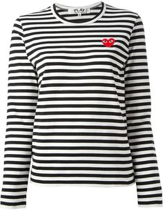 Comme Des Garçons Play embroidered heart striped T-shirt | #Chic Only #Glamour Always
