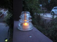 Old Glass Electrical Insulator Cap Telephone Pole with Light