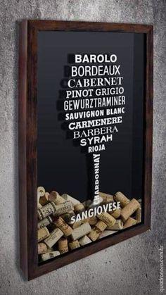 Todas as uvas que um amante de vinho precisa conhecer, num quadro de rolhas bem estiloso.#vinho #wine #wineart #uva #rolha #quadro