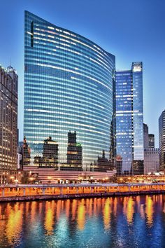 333 West Wacker Drive is a highrise office building in Chicago, Illinois. On the side facing the Chicago River, the building features a curved glass façade, while on the other side the building adheres to the usual rectangular street grid.