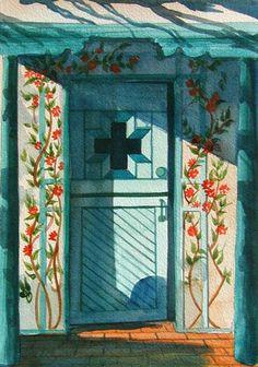 Watercolor painting by Barbara Ann Spencer Jump.     Santa Fe style blue door