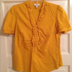 Reduced! cute mustard colored shirt with ruffles! Like new condition! LOFT Tops