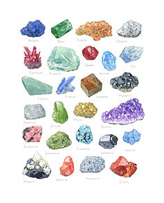 Mineral Alphabet Watercolor Print | david scheirer watercolors