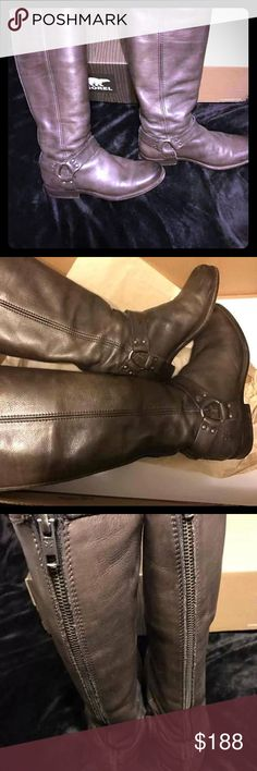 Frye boots 9 Gray. EUC! Phillips Harness Frye boots women's 9. Fabulous condition. They could use a good cleaning and waxing. That should get any minor scuffs out. I only wore them a handful of times. I love them. Just never really get to wear. No issues. A few minor scuffs that happens like the first day anyway w boots. Lots of life left. These will last a lifetime if taken care of. There was a small piece of leather that kept getting in my way inside right where u zip up I cut it off. No…