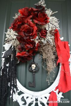 Use an inexpensive picture frame as the base for this elegant but spooky DIY Halloween Wreath