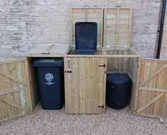 Triple wooden wheelie bin storage unit for 140 or 240 litre wheelie bins
