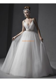 Robe de mariée en tulle cristal et pailletés dos nu sexy avec bretelles ceinture en étoffe