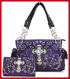 7dc3728eb0cd49 Western Cowgirl Rhinestone Flower Cross Country Purse Handbag Messenger  Shoulder Bag Wallet Set Purple - Shoulder