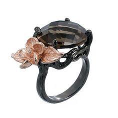 Smoky Quartz Ring Black Rhodium and Pink Gold by jewelkingthai