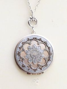 Locket Necklace,Silver Locket,Jewelry ,White Locket,Let it go,Gift,Snow,Pendant,filigree locket necklace, filigree locket,Wedding Necklace