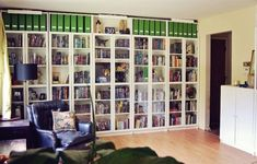 Billy Bookcase (from IKEA), Easy to Assemble - this picture has of bookcase with… Floor To Ceiling Bookshelves, Wall Bookshelves, Bookshelf Storage, Billy Bookcase With Doors, Billy Bookcases, Ikea Quilt, Billy Oxberg, Ikea Fans, Ikea Shelves