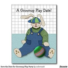 Save the Date for Grownup Play Party Postcard - Having a party filled with games, perhaps a backyard BBQ? Grab the attention of those you invite with a silly little big-eared bunny!