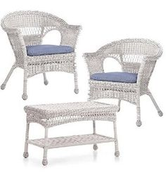 What could be better than a easy care white resin wicker chairs and coffee table set? Ultra-sturdy powder-coated steel frames (Coffee Table has solid rattan frame) Hand-woven resin wicker is durable and weather resistant. $299.99