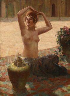 """""""Odalisque""""  by Eduard Ansen-Hofmann (German, 1820-1904)"""