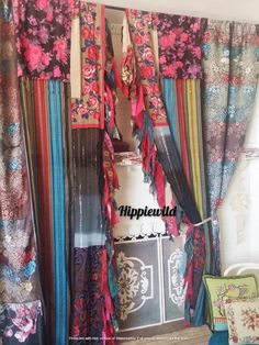 Patchwork Curtains, Scarf Curtains, Bohemian Curtains, Bohemian Gypsy, Bohemian Decor, Bohemian Style, Tribal Rose, Chinoiserie Chic, Hanging Photos