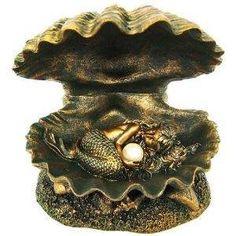 Bronzed Finish Mermaid Baby In Clam Shell Statue  24.99 www.MermaidHomeDecor.com