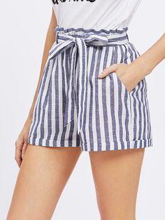 Frill Waist Self Belted Shorts -SheIn(Sheinside)
