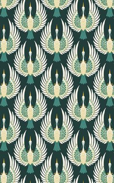 Welcome an elegant sense of opulence to your space with this beautiful Green Art Deco Crane Wallpaper, a detailed mural. Motifs Art Nouveau, Motif Art Deco, Art Deco Design, Art Deco Fabric, Wallpaper Art Deco, Luxury Wallpaper, Pattern Wallpaper, Casa Art Deco, Art Deco Home