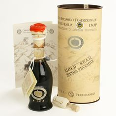Aceto Balsamico Tradizionale di Reggio Emilia: This vinegar's refined bouquet is intense and delicate, and its flavor is masterfully complex. From Master Producer Cavalli, this special product is packed in a beautiful box, closed with a clasp. Cheese Gifts, Gourmet Cheese, Pumpkin Seed Oil, Salad Topping, Gourmet Gift Baskets, Artisan Cheese, Reggio Emilia, Roasted Meat, Specialty Foods