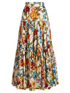 Dolce & Gabbana Dolce E Gabbana Women's Multicolor Cotton Skirt Skirt Outfits, Dress Skirt, Mode Batik, Modest Fashion, Fashion Dresses, Floral Fashion, Long Floral Maxi Dress, Gathered Skirt, Maxi Dresses