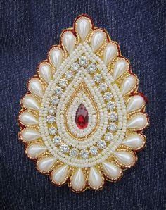 """2 Handmade Betel shape applique 