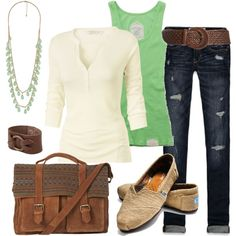 Accessories. Polyvore / Back to school comfy casual. Minty green. Superdry Classic Tank Top. Hatti Henley T-Shirt. Hollister Co Hollister Super Skinny Jeans. TOMS Classic Natural Burlap Women Shoes. Brown Contrast Leather Satchel. Faceted Bead Necklace  from FOREVER21. Frye Ring Cuff.