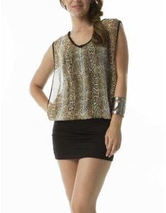 (CLICK IMAGE TWICE FOR DETAILS AND PRICING) Animal Print Mini Dress Brown_animal print. This dress features a wild snakeskin print on the bodice, open arms, and a solid black skirt. Pair it with low motorcycle boots for an ultra edgy look.. See More Mini Dress at http://www.ourgreatshop.com/Mini-Dress-C90.aspx