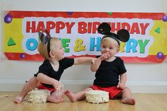 Cake Smash for twins 1st Birthday. Mickey Mouse inspired. All done on a tight budget.