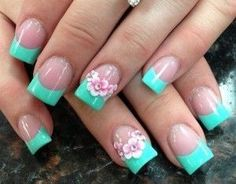Easy Flower Nail Designs New 45 Easy Flower Nail Art Designs for Beginners Flower Nail Designs, Flower Nail Art, Cute Nail Designs, Acrylic Nail Designs, Easy Designs, French Nails, French Acrylic Nails, Hand Kunst, Latest Nail Designs