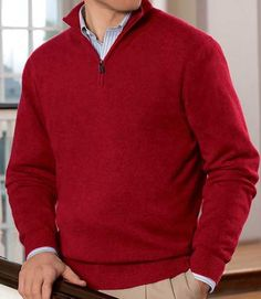 Jos A Banks - Signature Pima Cotton Half-Zip Sweater Big/Tall ...