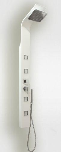 Painel de Banho Le Blanc da Unique SPA possui hidromassagem vertical, amplo chuveiro e ducha manual. Feito em alumínio de cor branco acetinado possui todos os acessórios em metal cromado (www.uniquespa.com.br)