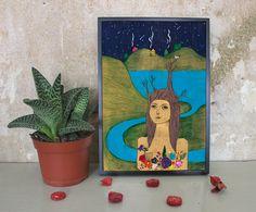 Digitaldruck - Wald Mädchen - A4 Illustration/Druck  - ein Designerstück von IrinaMmur bei DaWanda