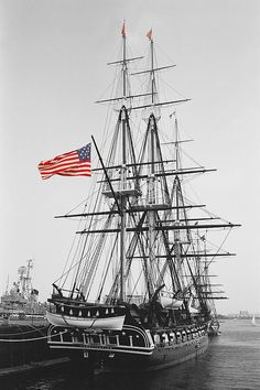 """✯ USS Constitution, Charlestown Navy Yard ~ It's rumored that lumber from my Denman paternal ancestors' 100-acre New Jersey homestead was used in building the original structure.  However, it is also claimed that after 200 years of maintenance barely any of the original wood is left in it.  The oldest Navy ship still sea-worthy, built almost entirely of wood; nick-named """"Old Ironsides"""" after a British cannonball bounced off her side... War of 1812"""
