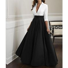 Silhouette:A-Line; Hemline / Train:Floor Length; Closure:Zipper UP; Embellishment:Ruching; Fabric:Satin; Sleeve Length:Half Sleeve; Tips:Bodice color will be as pictured no matter which color dress you order; Style:Elegant  Luxurious; Neckline:Plunging Neck; Listing Date:10/22/2019; Bust:; Hips:; Hollow to Floor:; Waist:; Wrap:No Elegant Woman, Ball Dresses, Ball Gowns, Maxi Skirts For Women, Long Skirts, Cocktail Vestidos, Long Skirt Fashion, Evening Dresses Online, Dress Online