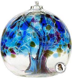 Kitras Art Glass Tree of Enchantment Winter Oil Lamp