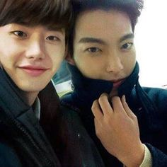 Lee Jong Suk with Kim Woo Bin.. I'm happy seeing you guys together